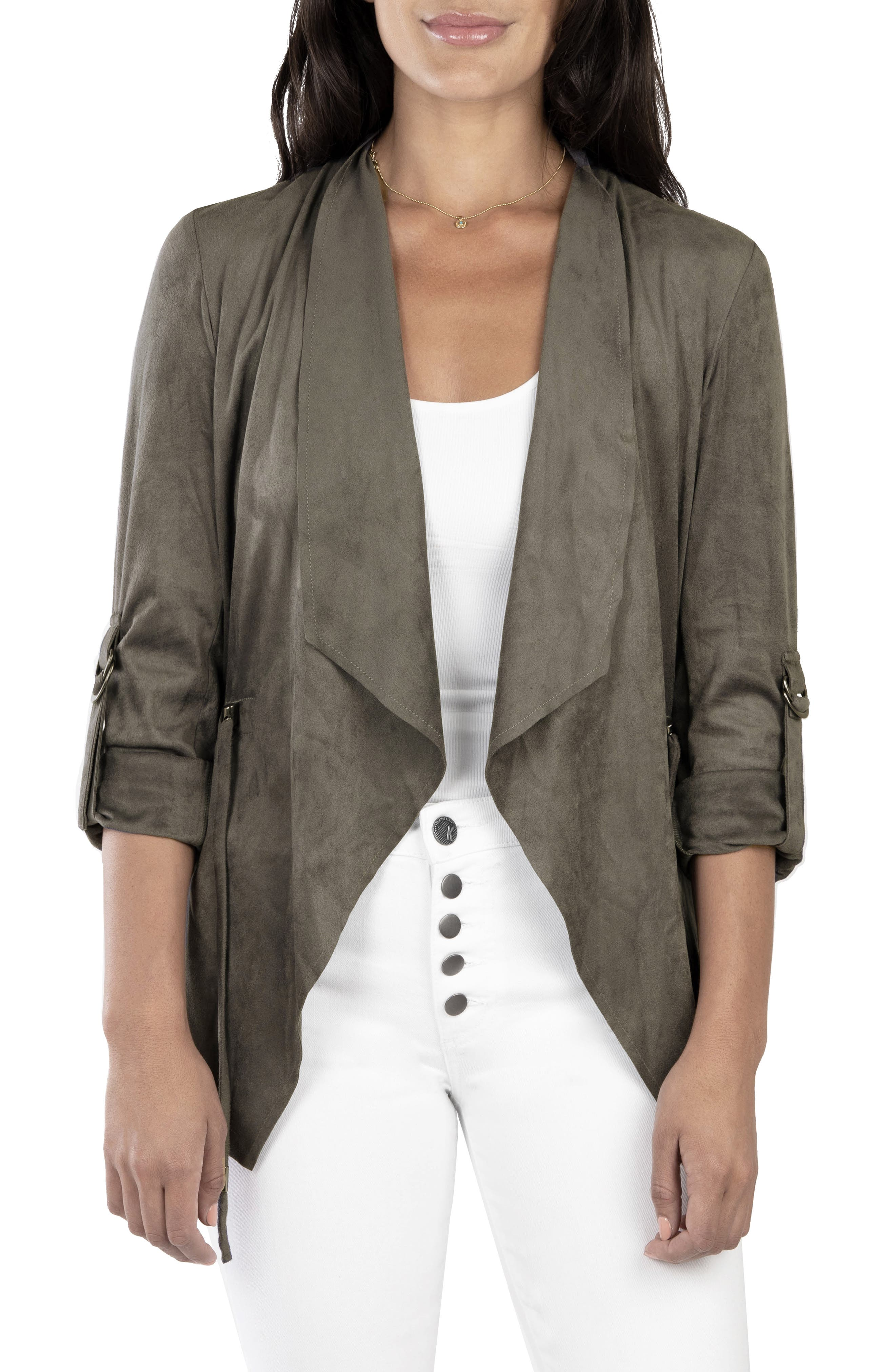 A work-to-weekend jacket with the luxe look of suede features easy drape-front styling with a cinched waist for fit-defining flattery. Utility-style D-ring tabs roll the sleeves for a more relaxed attitude. Style Name: Kut From The Kloth Dianne Faux Suede Jacket. Style Number: 5942945. Available in stores.