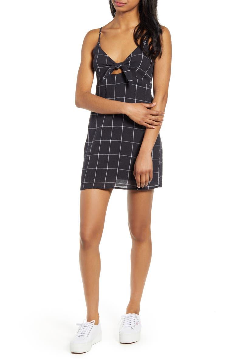 LIRA CLOTHING Agave Windowpane Check Slipdress, Main, color, 001