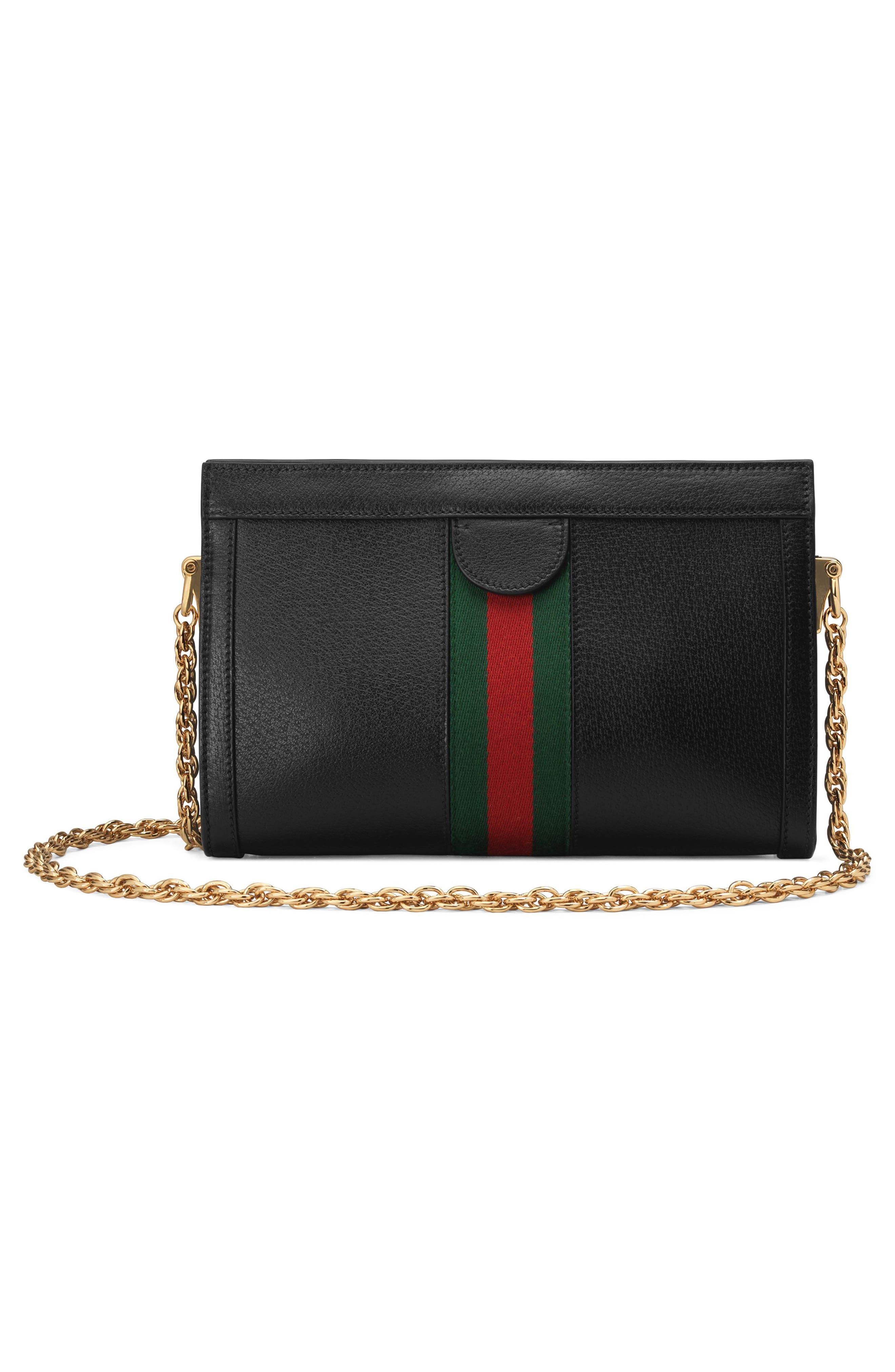 ,                             Small Ophidia Leather Shoulder Bag,                             Alternate thumbnail 2, color,                             NERO/ VERT RED VERT