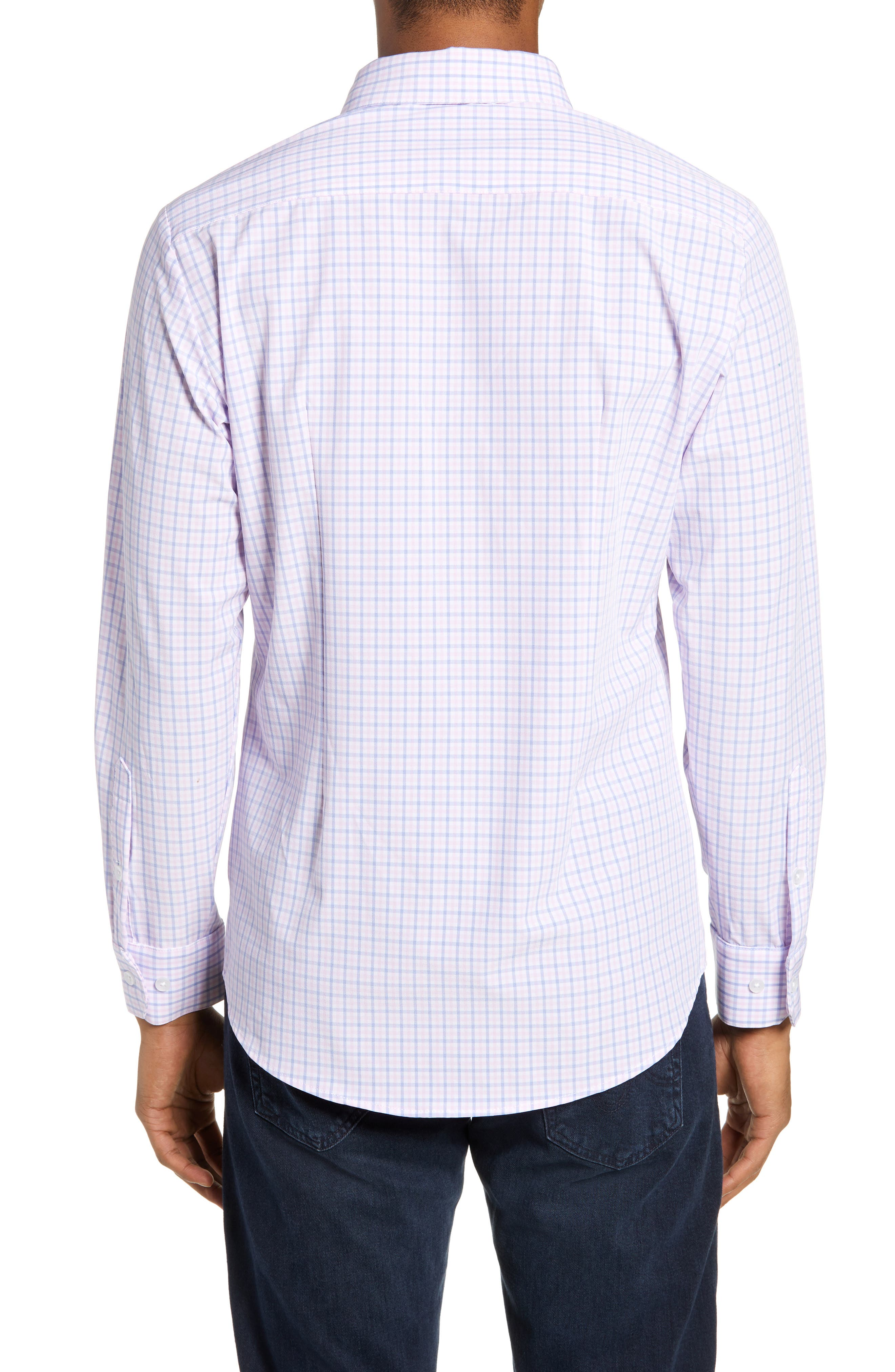 ,                             Seaside Tattersall Trim Fit Performance Sport Shirt,                             Alternate thumbnail 3, color,                             PINK