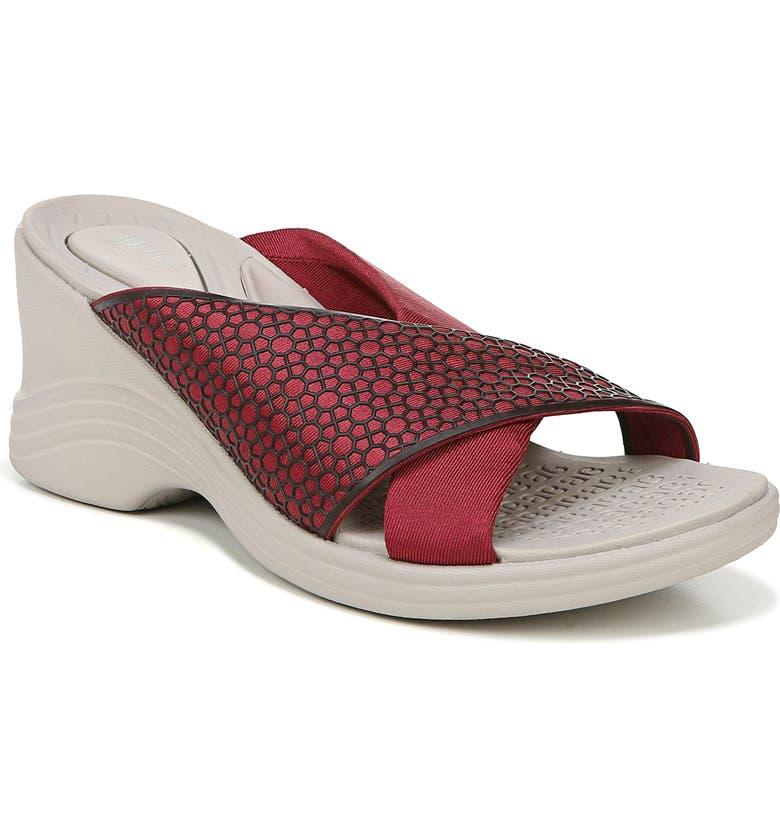 BZEES Harmony Wedge Slide Sandal, Main, color, RED FABRIC