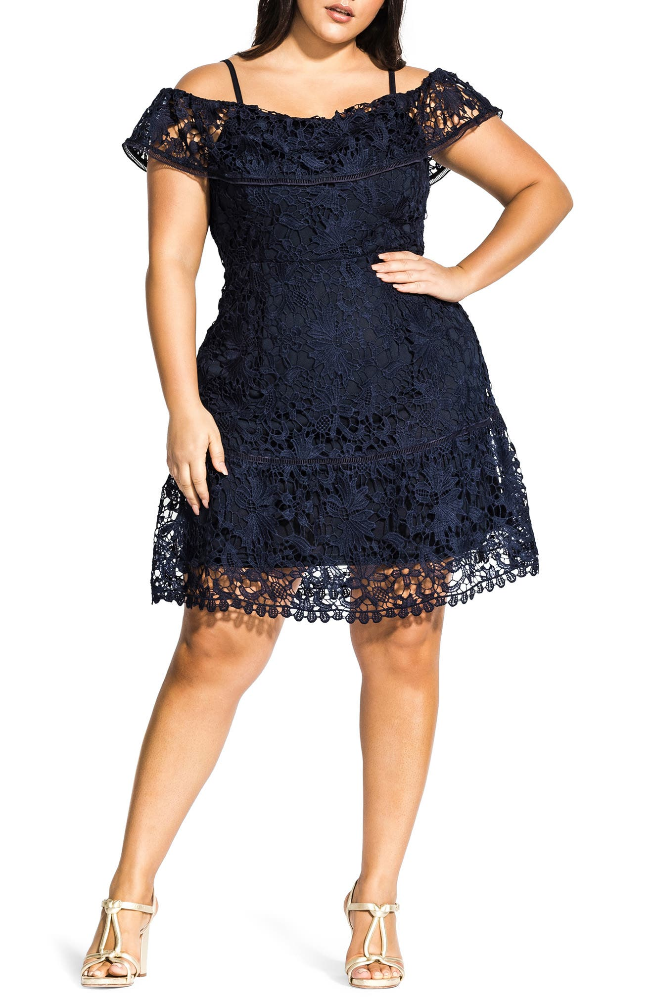 Plus Size City Chic Dreams Of Lace Fit & Flare Dress, Blue