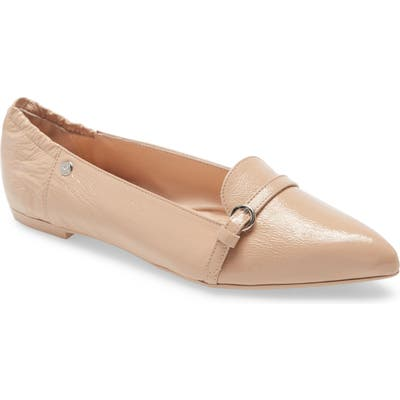 Agl Buckle Detail Pointed Toe Ballet Flat, Beige