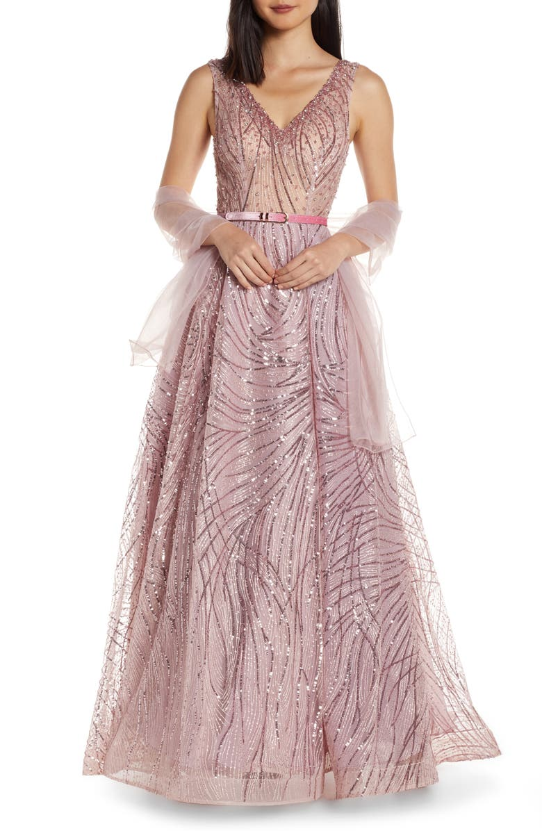 MAC DUGGAL Cat Tail Sequin V-Neck Prom Dress, Main, color, ROSE PINK