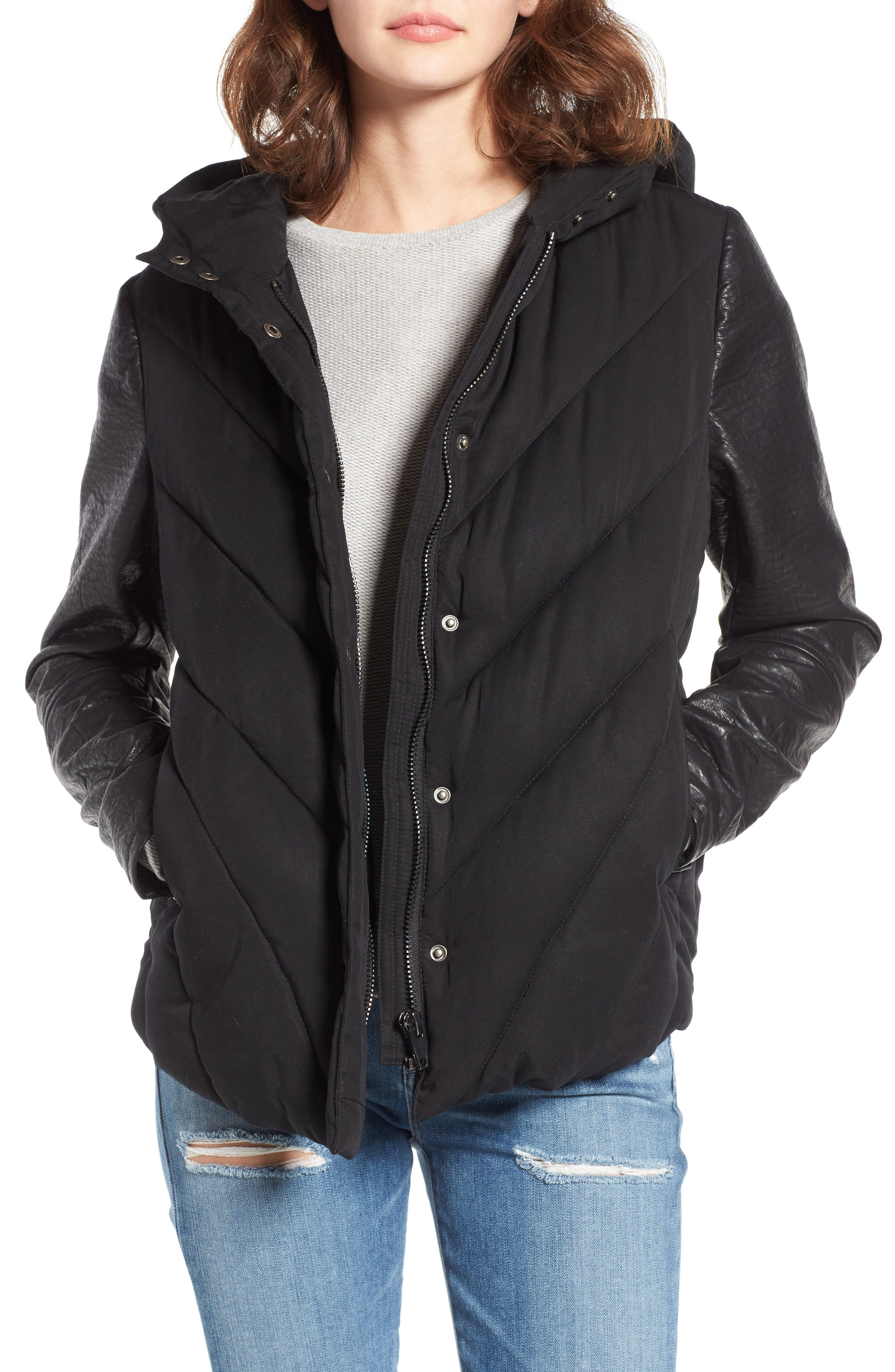 Image of BLANKNYC Denim Bed Fellows Faux Leather Sleeves Puffer Jacket