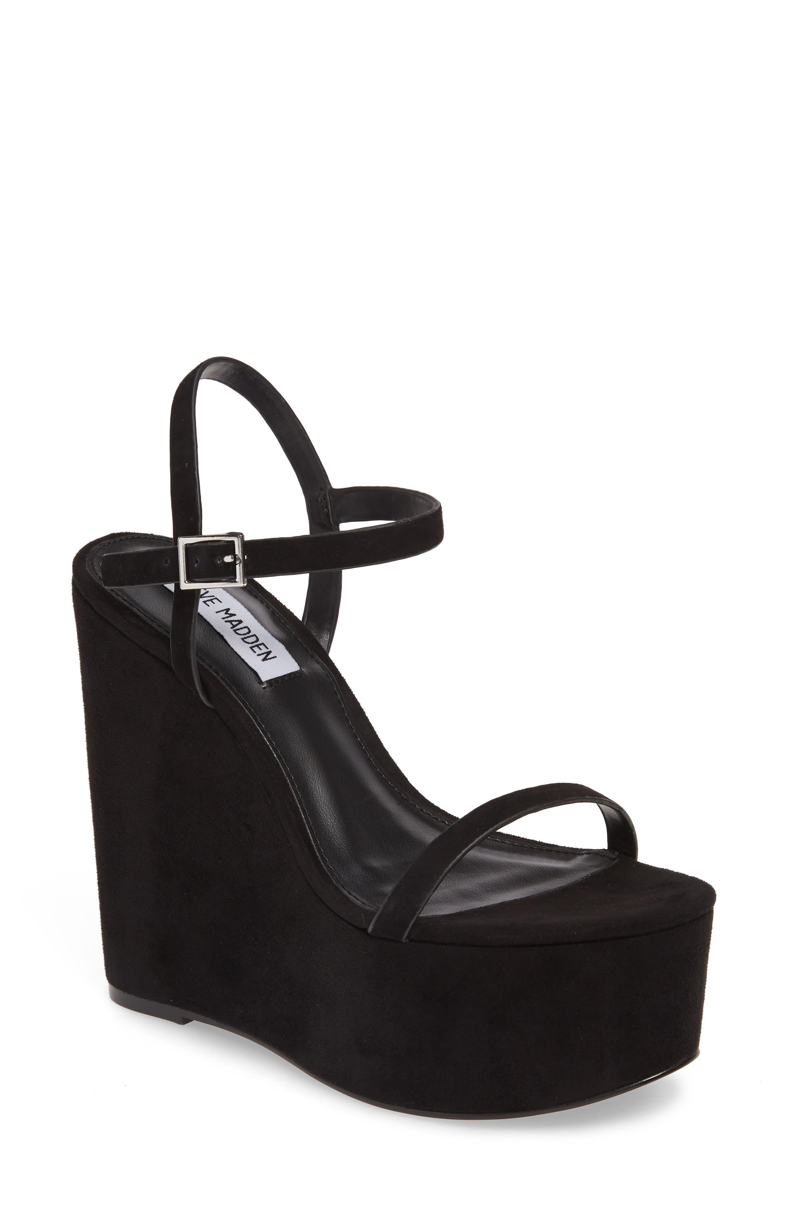 Steve Madden Baxlie Wedge Sandal- Black