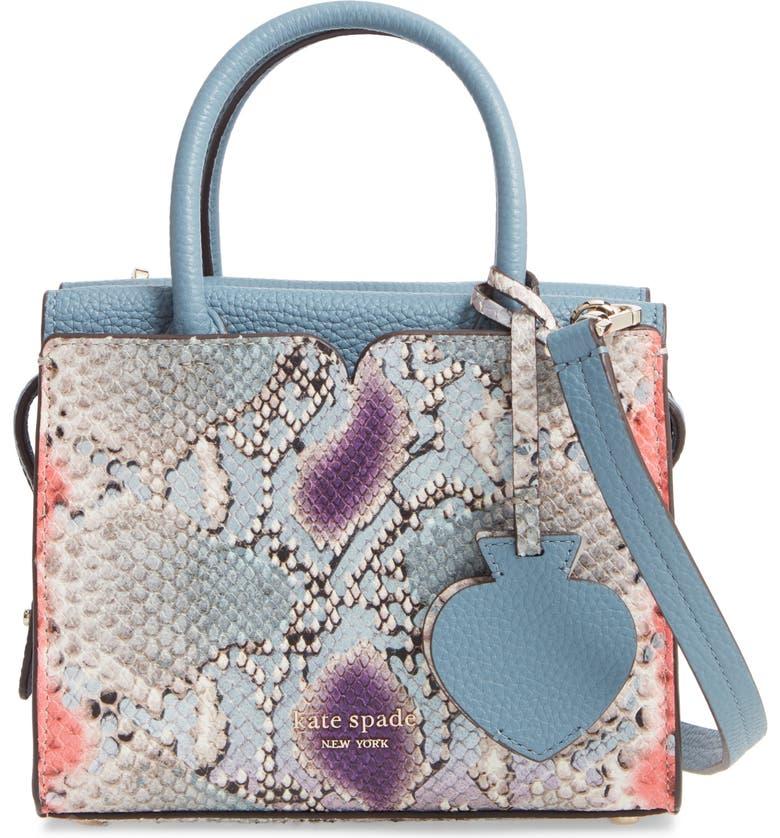 KATE SPADE NEW YORK spencer snake embossed leather mini satchel, Main, color, GREY MULTI