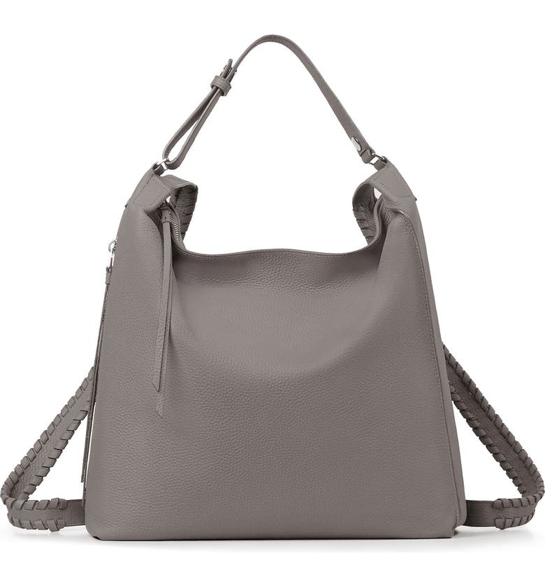 ALLSAINTS Kita Convertible Leather Backpack, Main, color, STORM GREY