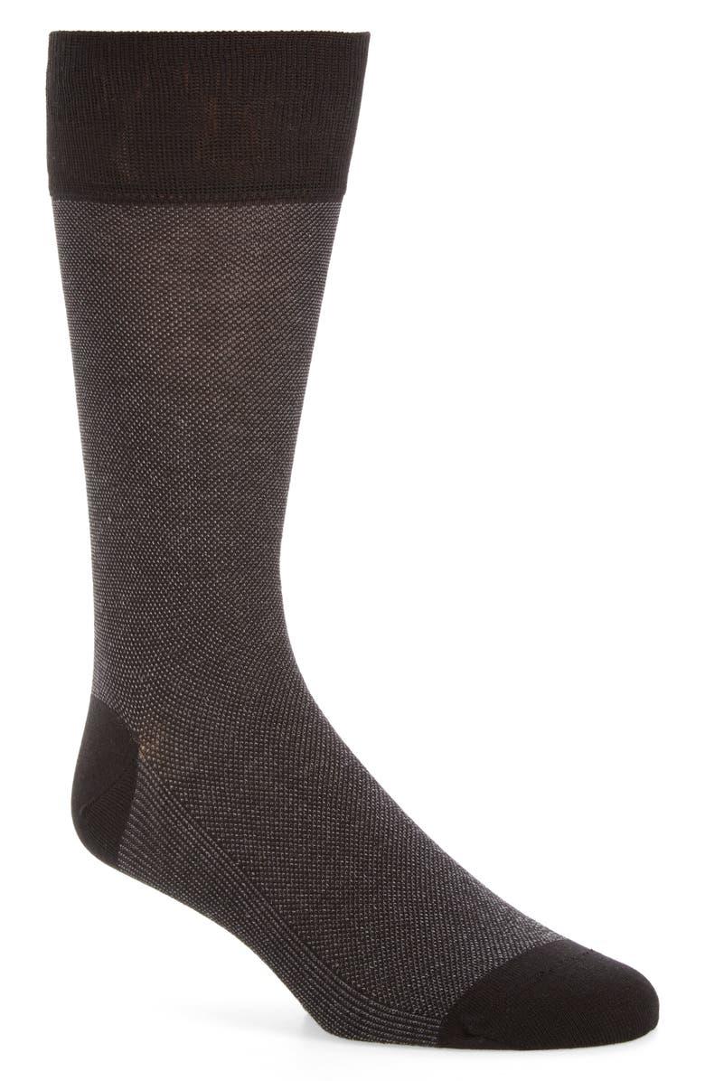 COLE HAAN Piqué Texture Crew Socks, Main, color, BLACK