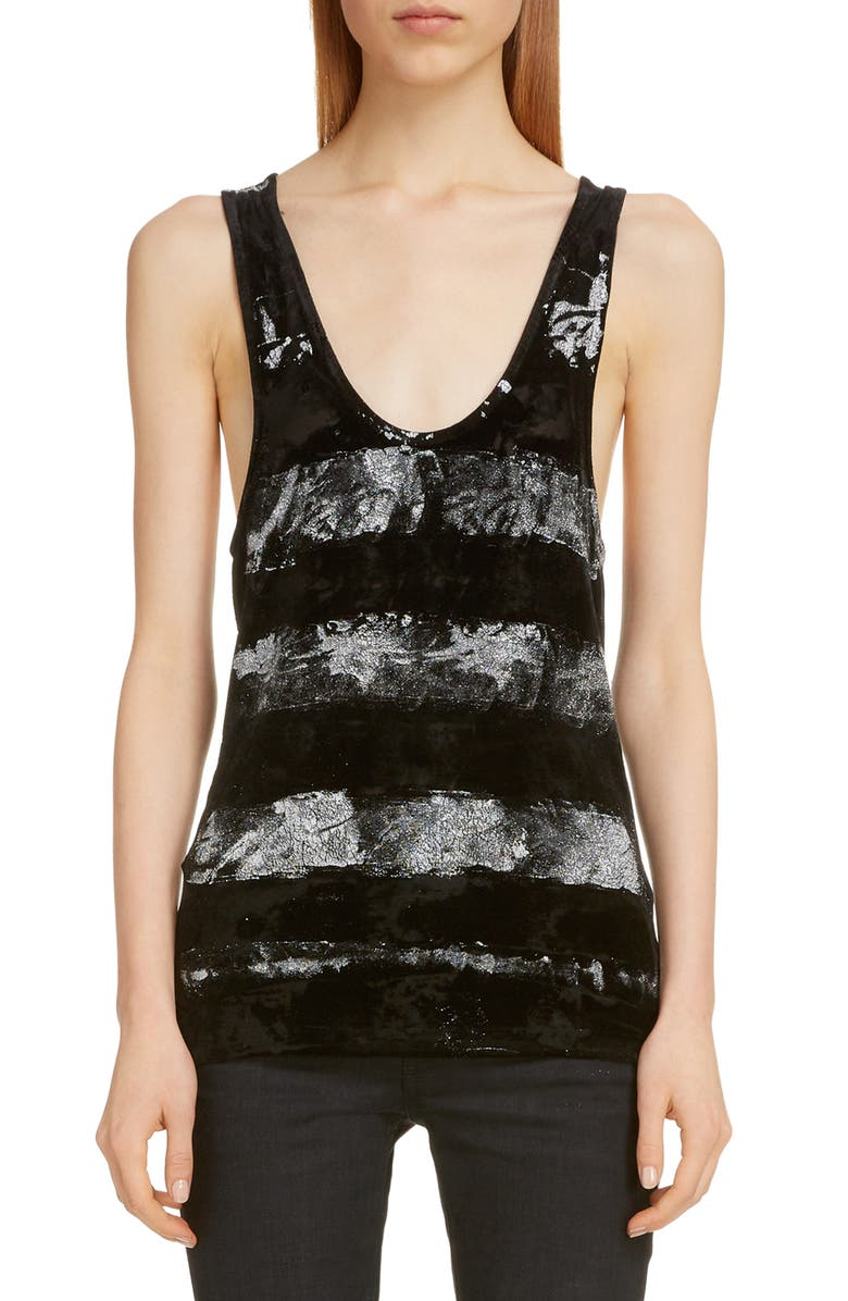 SAINT LAURENT Paint Stripe Woven Tank, Main, color, NOIR/ARGENT