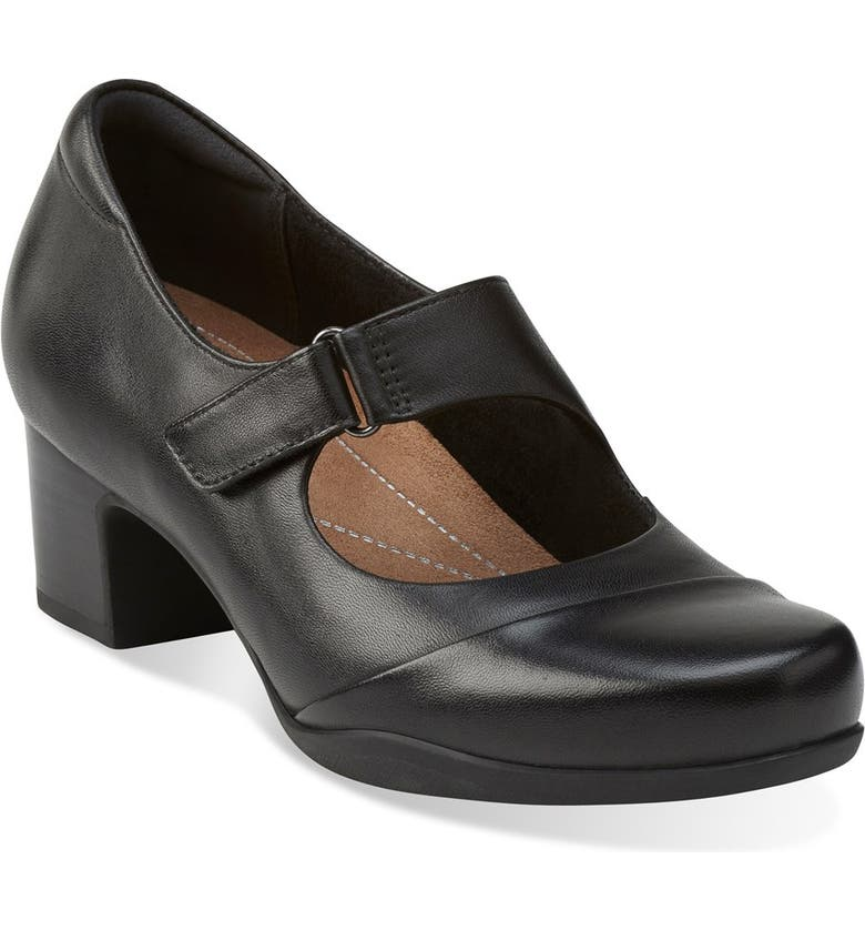 CLARKS<SUP>®</SUP> 'Rosalyn Wren' Mary Jane Pump, Main, color, BLACK LEATHER
