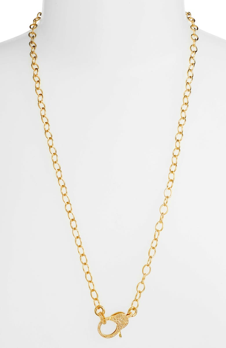 JANE BASCH DESIGNS Jane Basch Pavé Diamond Clasp Long Chain Necklace, Main, color, GOLD