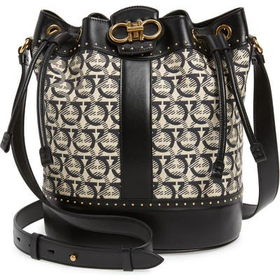 Salvatore Ferragamo Leather & Jacquard Bucket Bag - Black