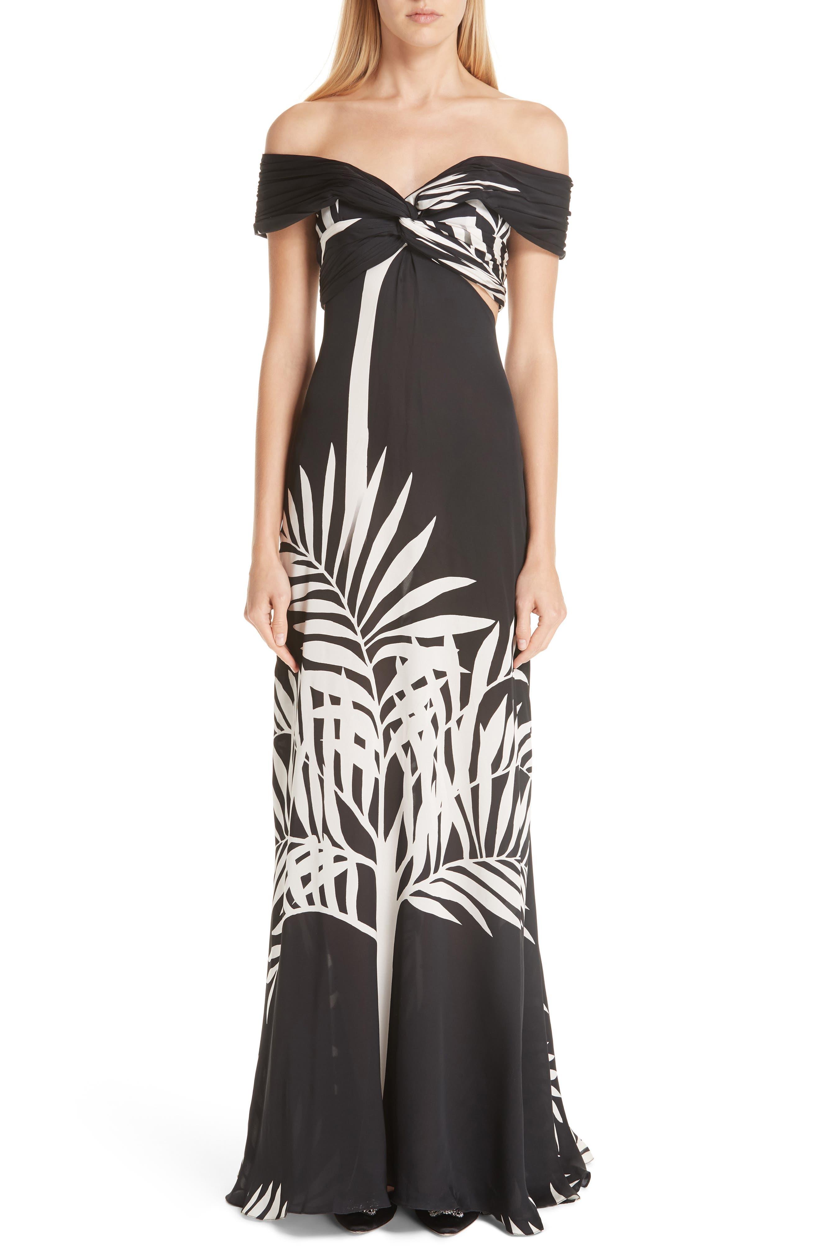Johanna Ortiz Palm Print Silk Off The Shoulder Maxi Dress, Black