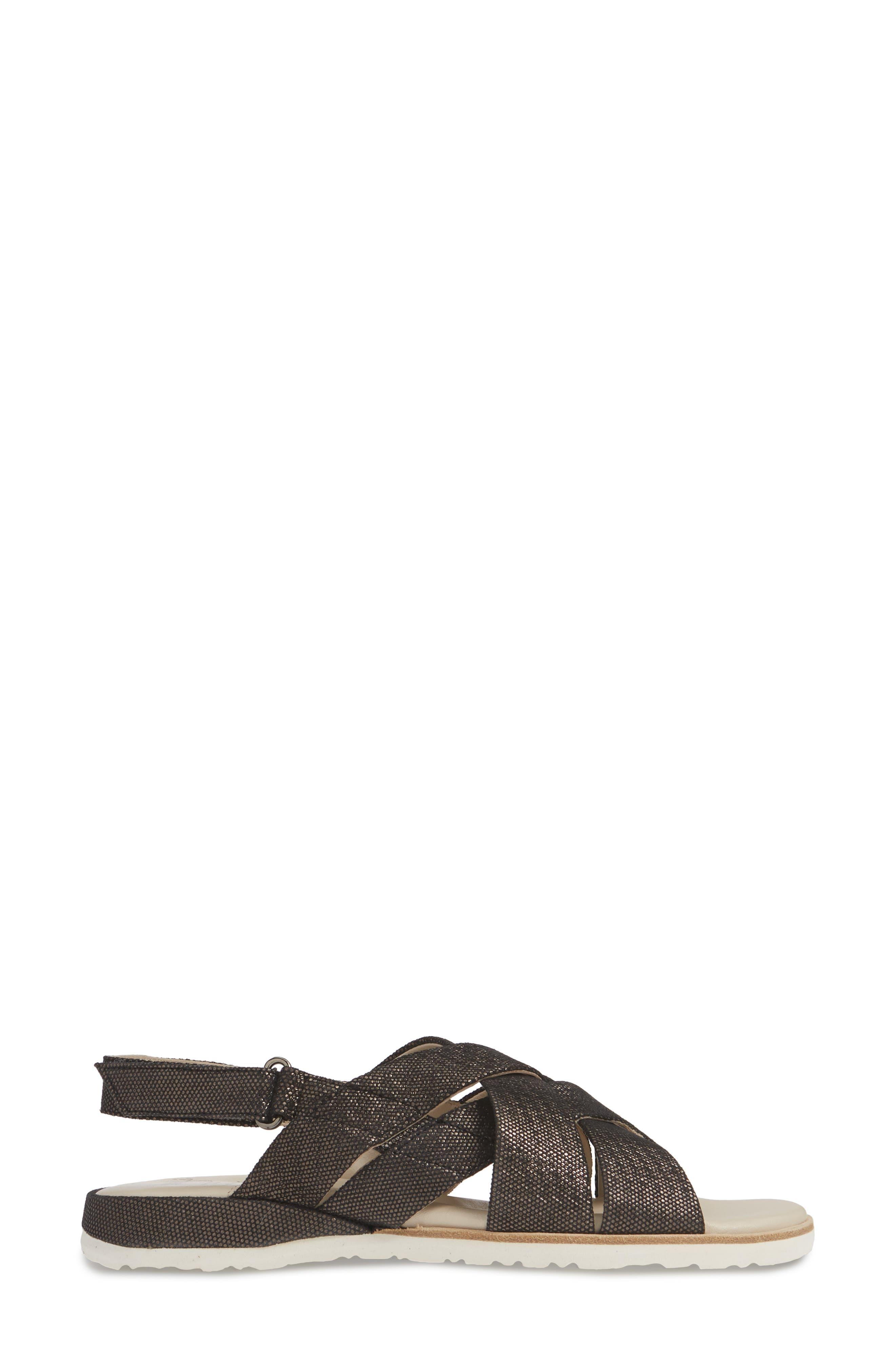 ,                             Biondina Textured Sandal,                             Alternate thumbnail 4, color,                             GRAPHITE LEATHER
