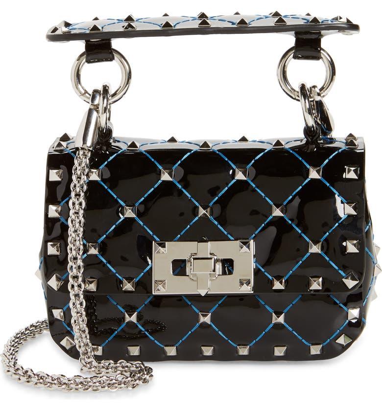 VALENTINO GARAVANI Micro Rockstud Spike Patent Leather Shoulder Bag, Main, color, LIGHT BLU DELFT/ NERO