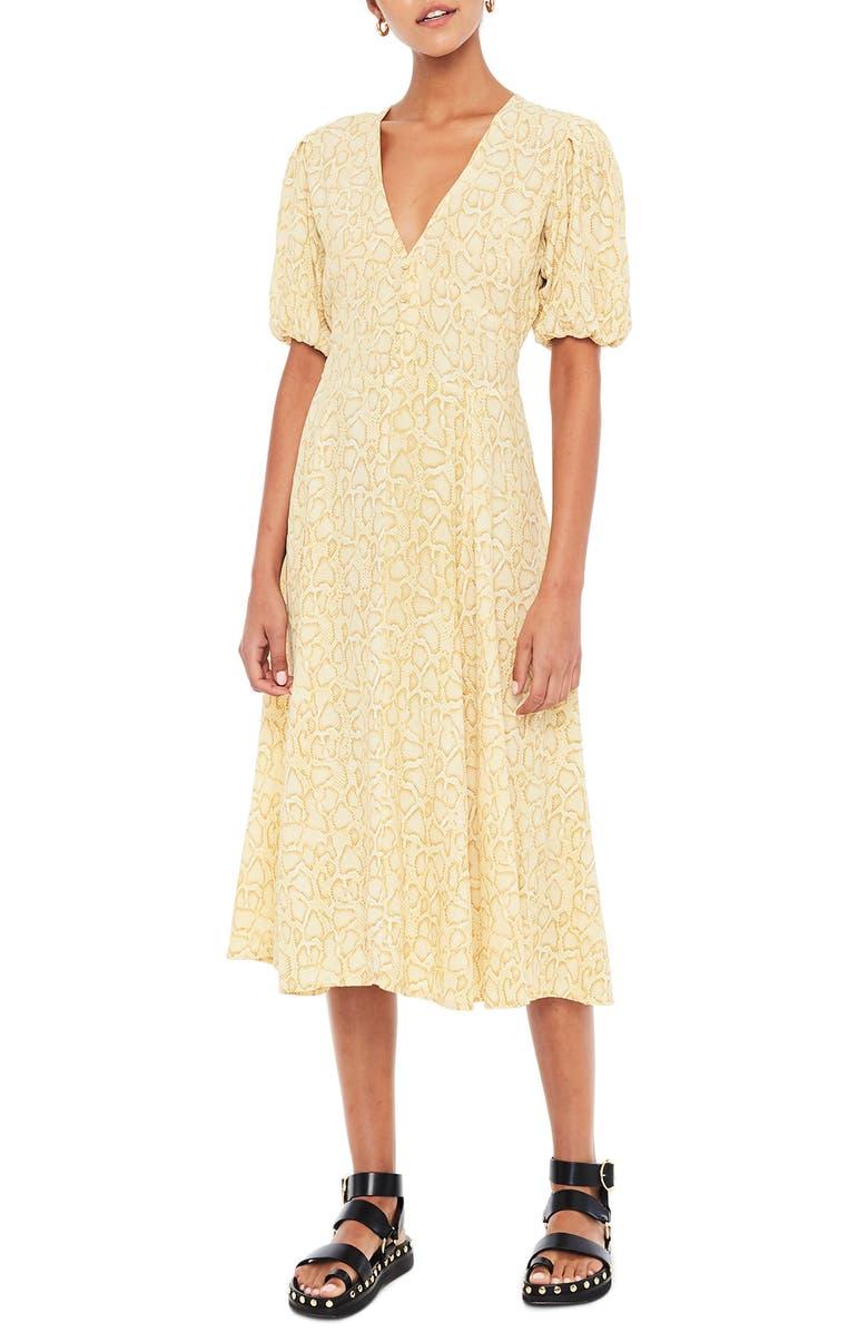 FAITHFULL THE BRAND Delia Python Print Midi Dress, Main, color, PETRA SNAKE - NATURAL