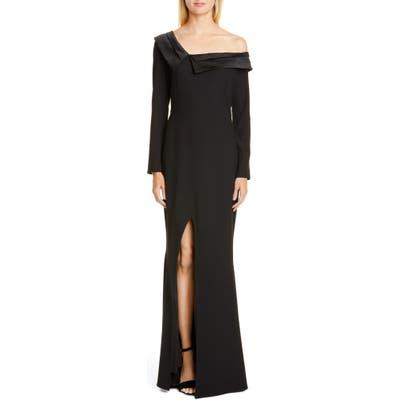 Zac Zac Posen Susan One-Shoulder Long Sleeve Gown, Black