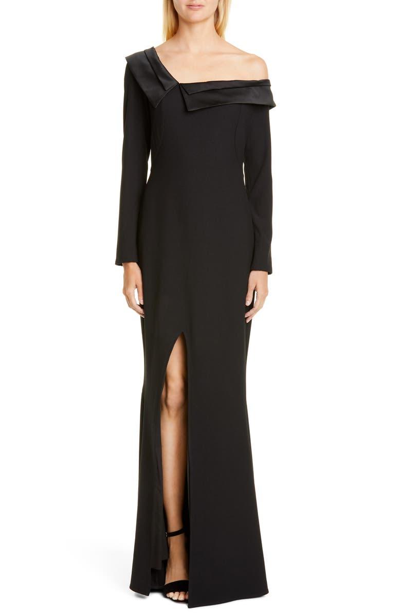 ZAC ZAC POSEN Susan One-Shoulder Long Sleeve Gown, Main, color, BLACK