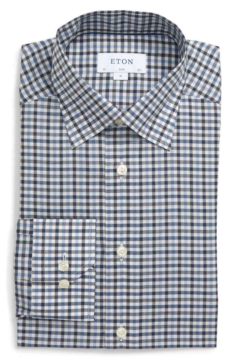 ETON Slim Fit Gingham Dress Shirt, Main, color, BLUE