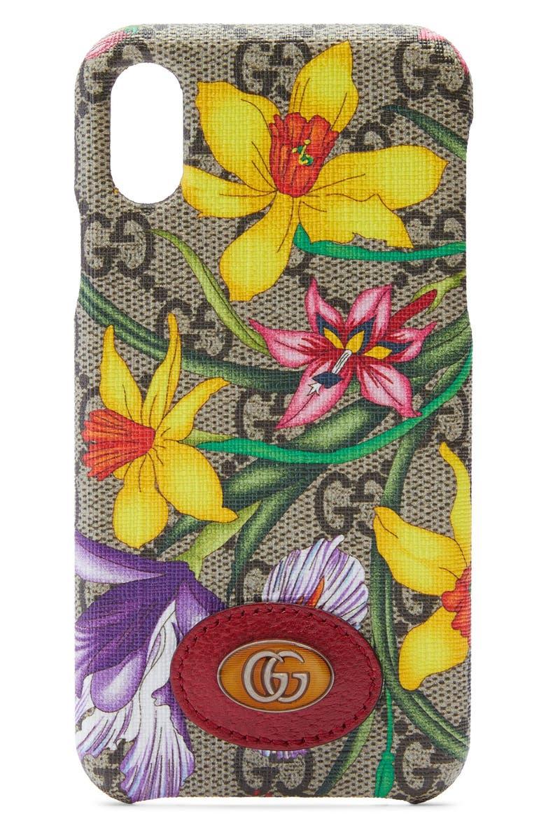 GUCCI Ophidia Floral GG Supreme iPhone X/Xs Case, Main, color, BEIGE EBONY MULTI/ ROSSO