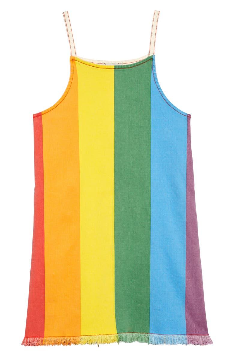 STELLA MCCARTNEY KIDS Stella McCartney Kid Rainbow Stripe Cotton Twill Dress, Main, color, YELLOW MULTI