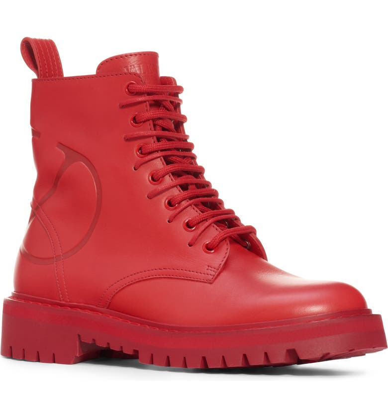 VALENTINO GARAVANI Logo Embossed Combat Boot, Main, color, RED LEATHER