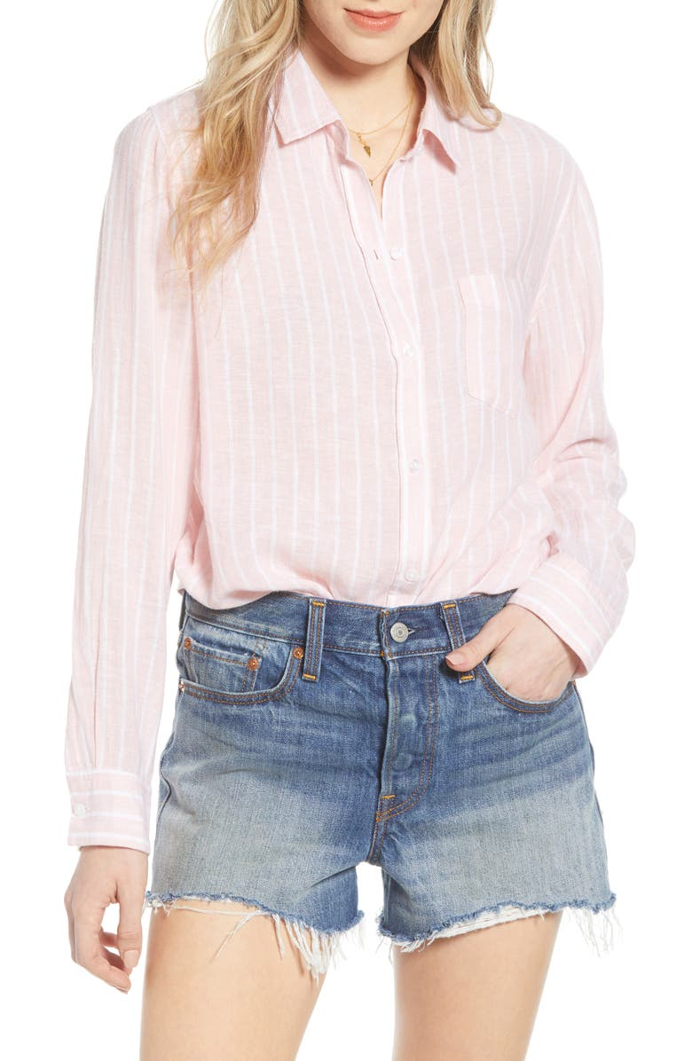 RAILS Charli Shirt, Main, color, PEACH STRIPE
