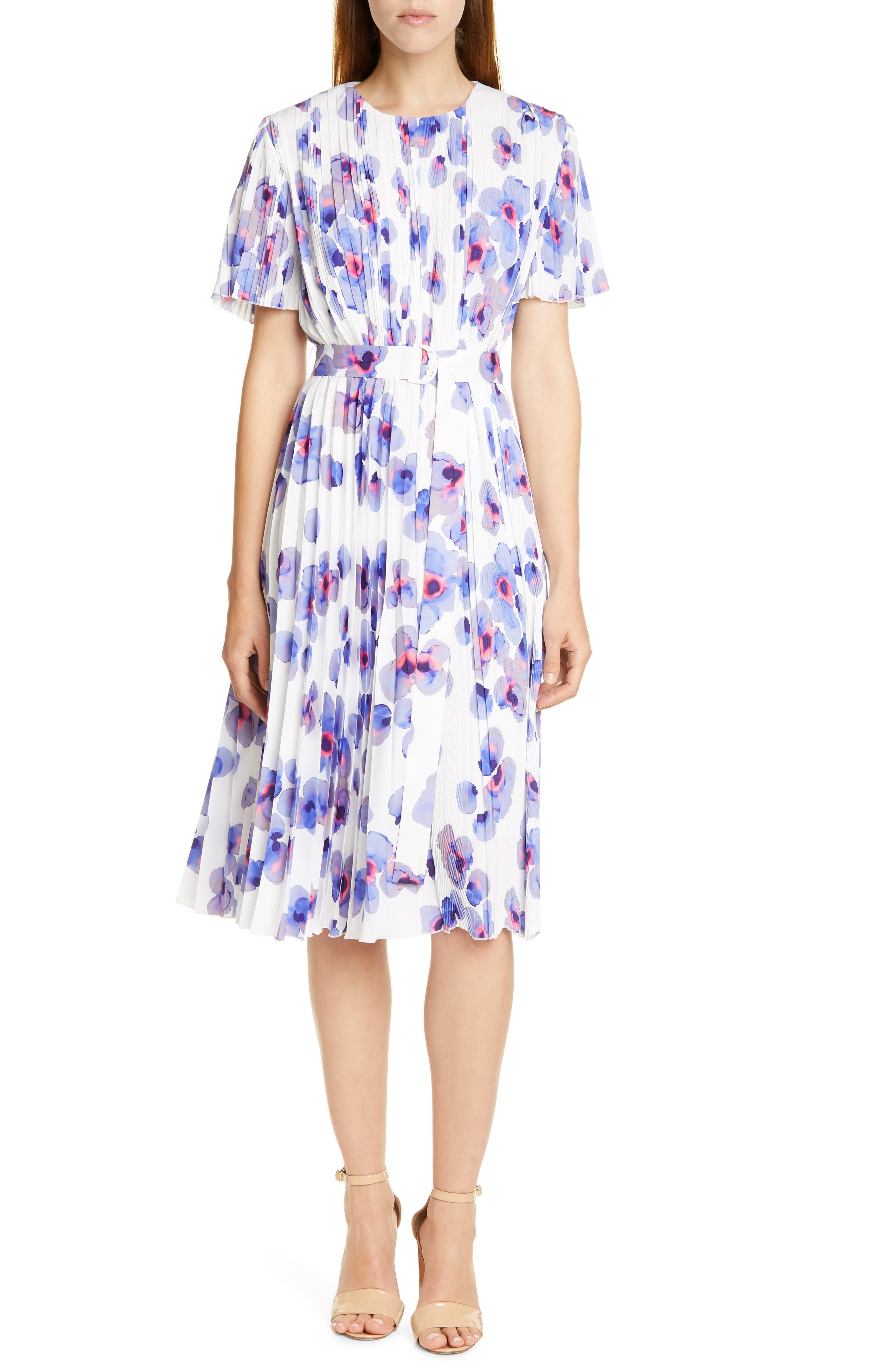 Boss Diplissee Pleated Dress, Brown