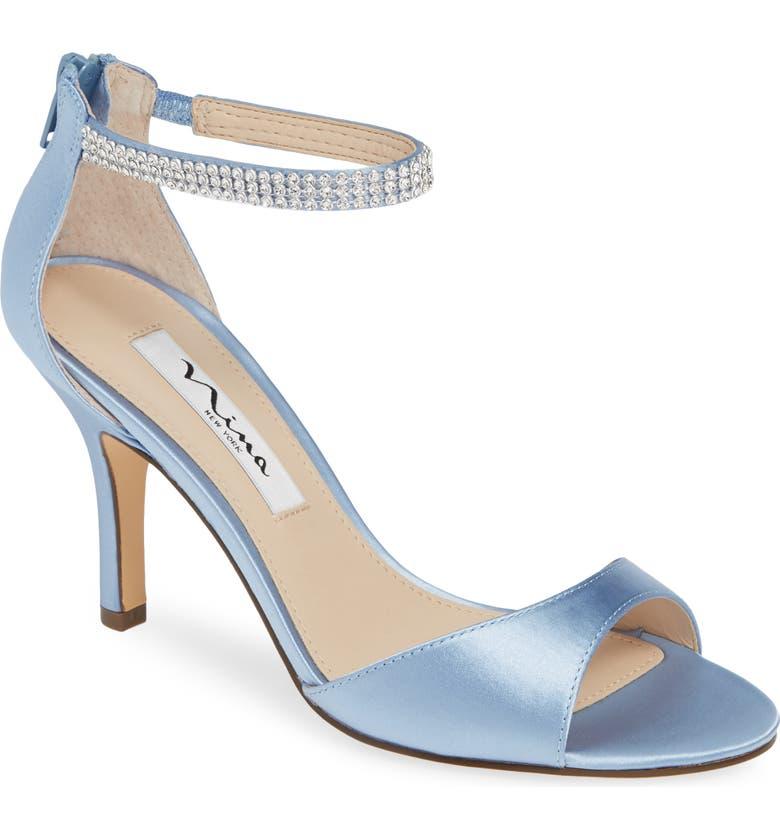 NINA Volanda Ankle Strap Sandal, Main, color, BLUE VELVET SATIN