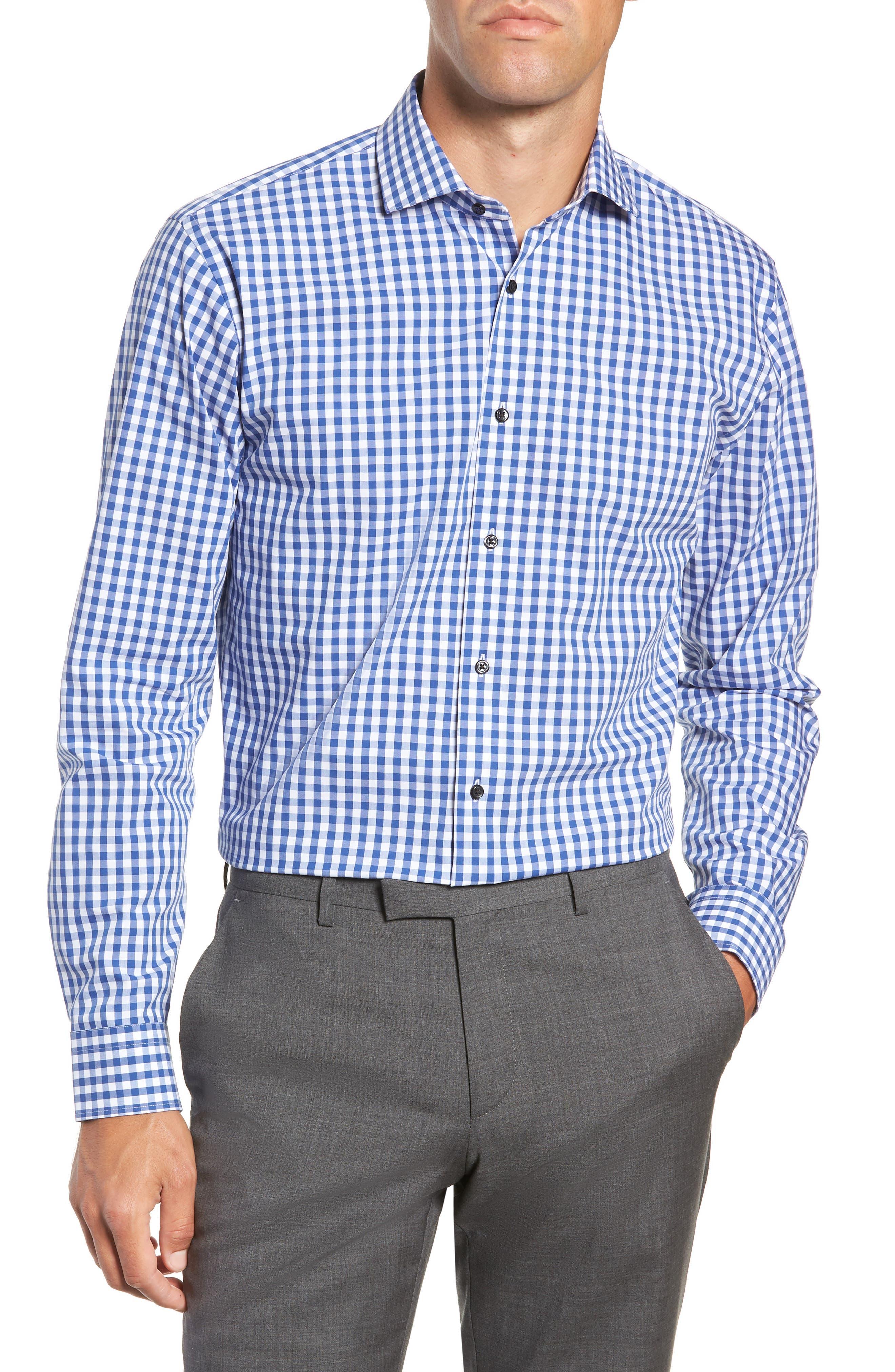 ,                             Tech-Smart Trim Fit Stretch Check Dress Shirt,                             Main thumbnail 27, color,                             420