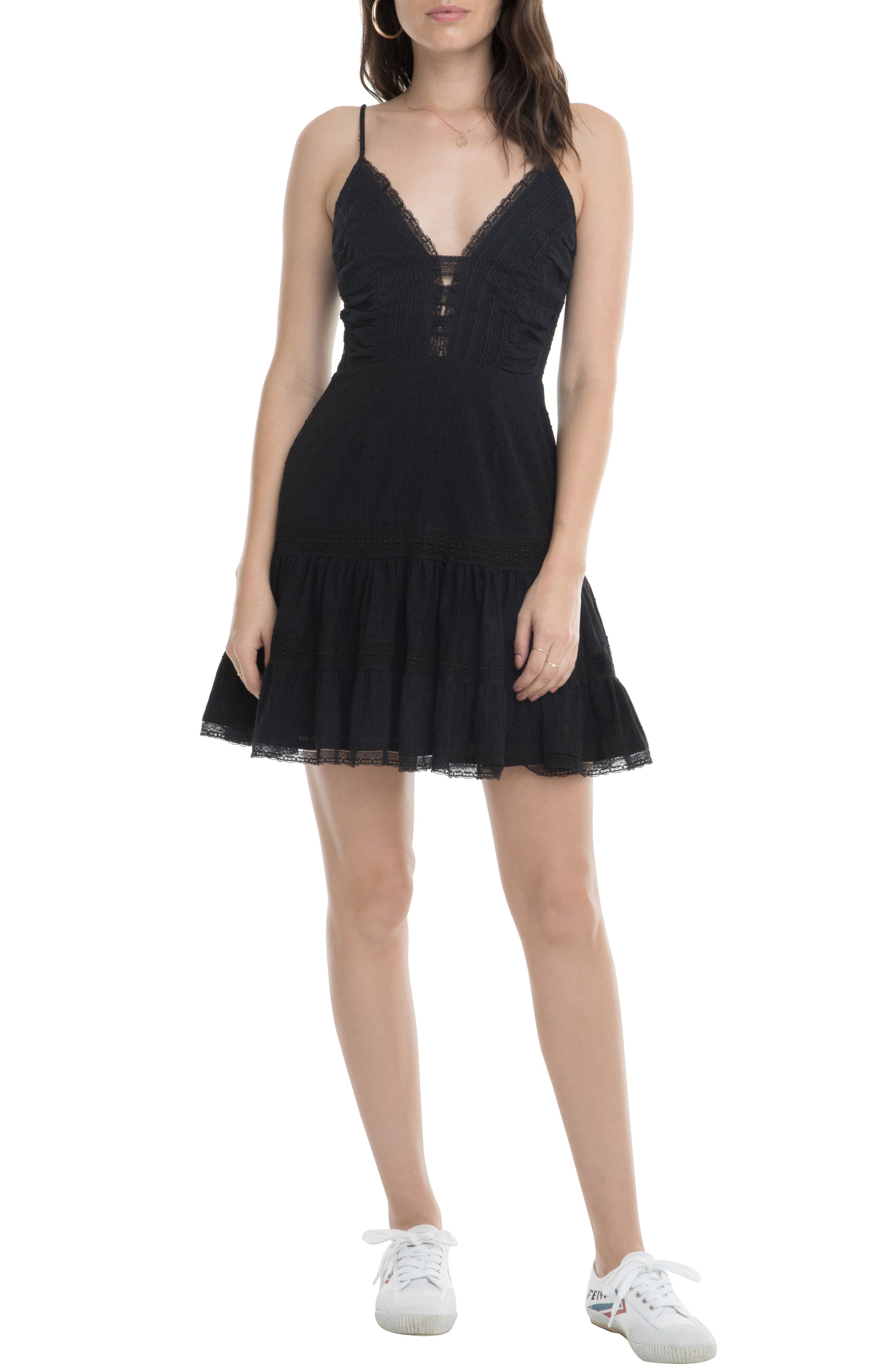 Astr The Label Pauline Lace Detail Cotton Sundress, Black