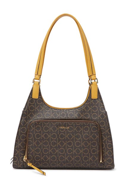 Image of Calvin Klein Ava Signature Leather Organizational Shoulder Bag