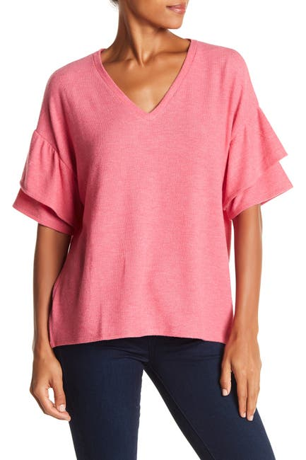 Image of H By Bordeaux Tiered Ruffle Sleeve Tee