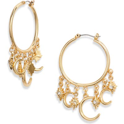 Ettika Moon Charm Hoop Earrings