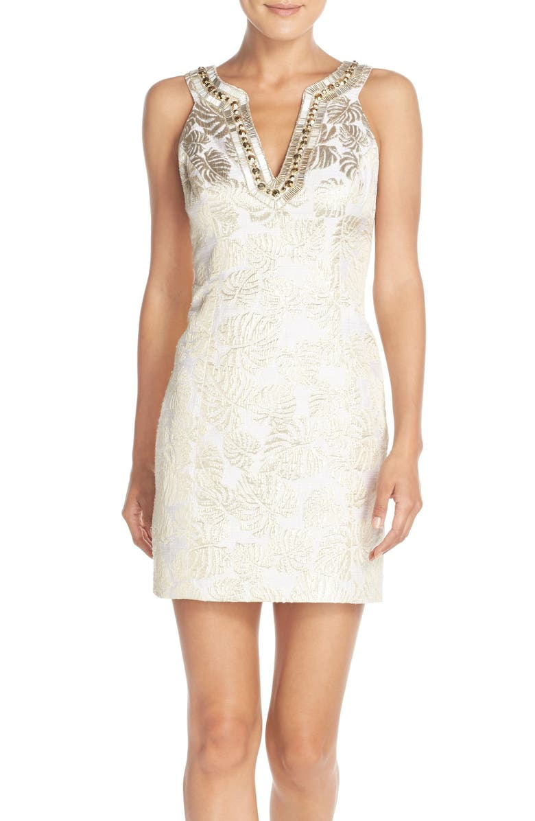 LILLY PULITZER<SUP>®</SUP> 'Valli' Embellished Jacquard Shift Dress, Main, color, 115