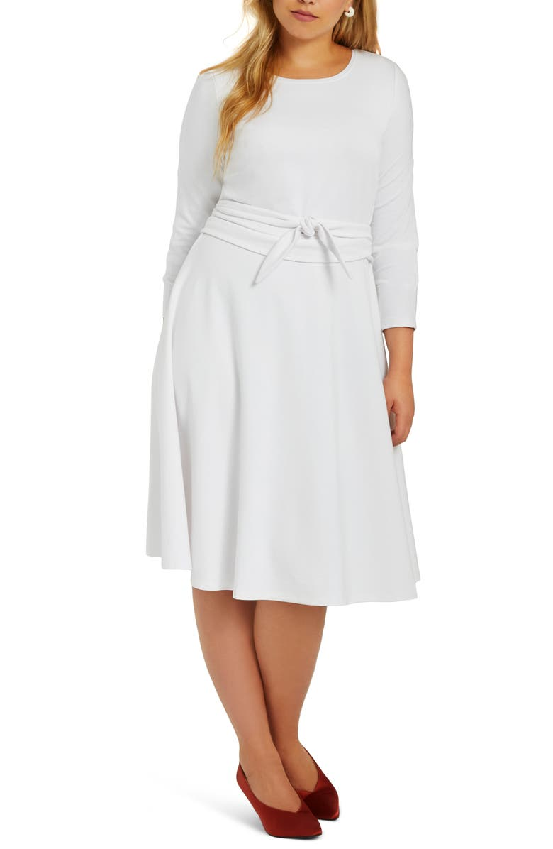 ELOQUII Long Sleeve Fit & Flare Dress (Plus Size) | Nordstrom