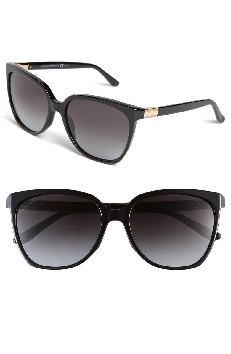 GUCCI 57mm Oversized Sunglasses, Main, color, 001