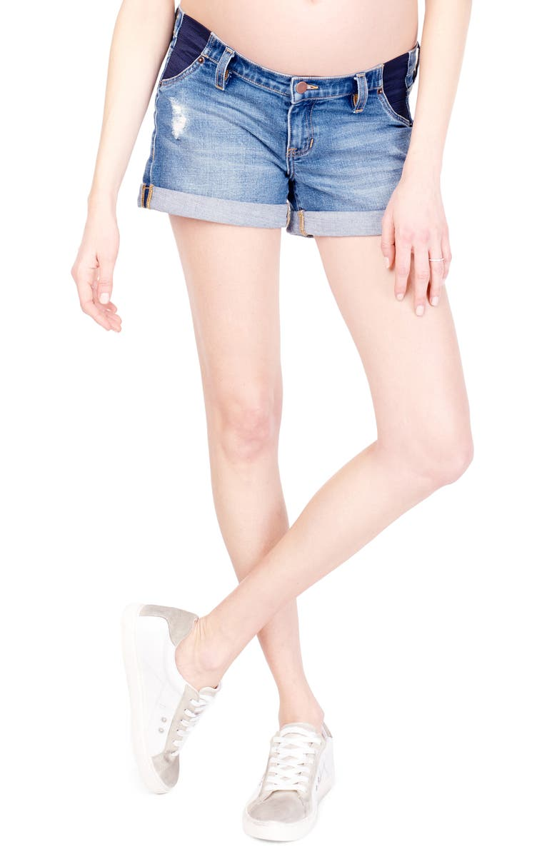 INGRID & ISABEL<SUP>®</SUP> Mia Inset Maternity Denim Boyfriend Shorts, Main, color, DISTRESSED MEDIUM WASH