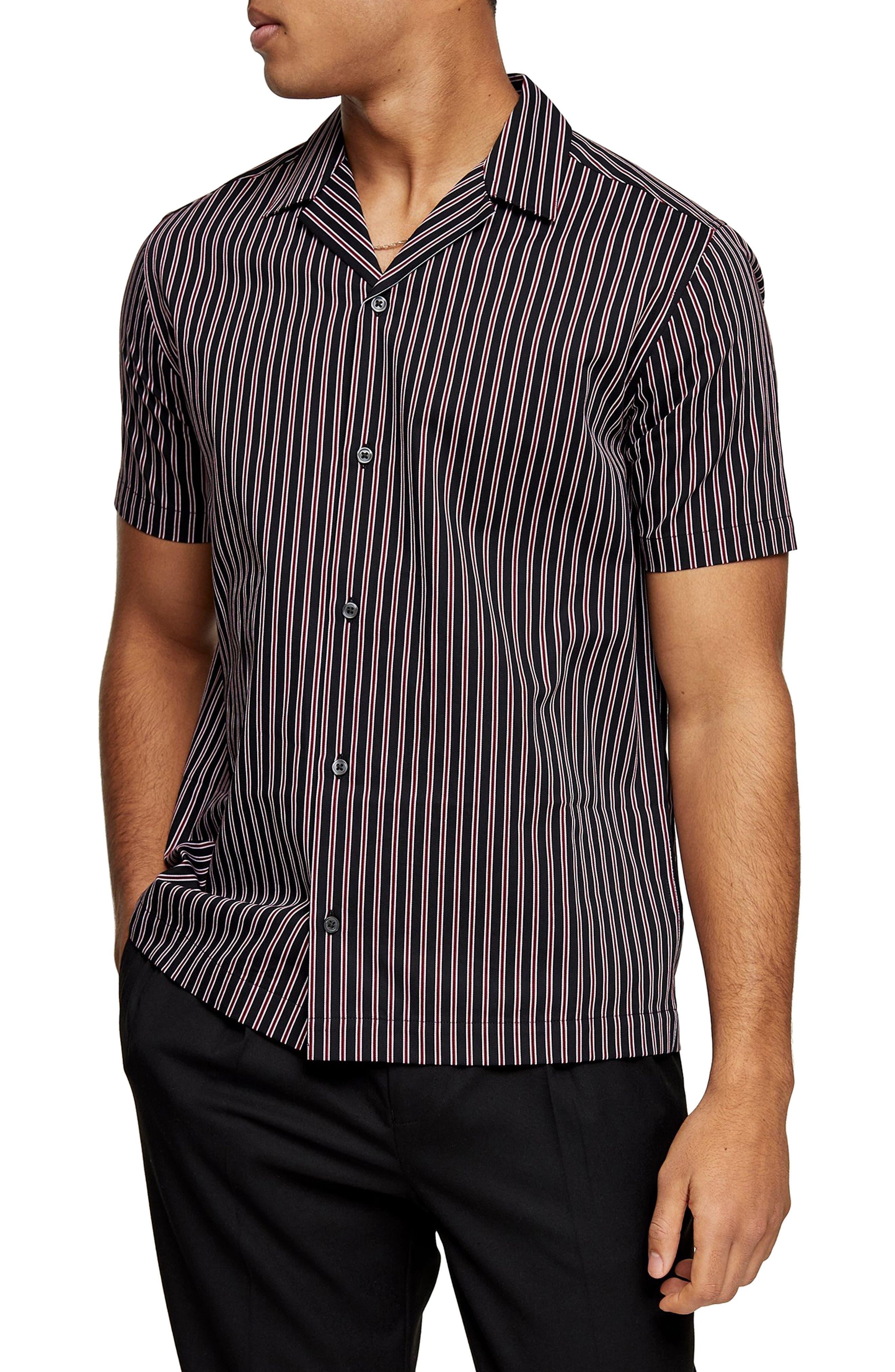 Mens Vintage Shirts – Retro Shirts Mens Topman Stripe Short Sleeve Button-Up Camp Shirt $27.00 AT vintagedancer.com