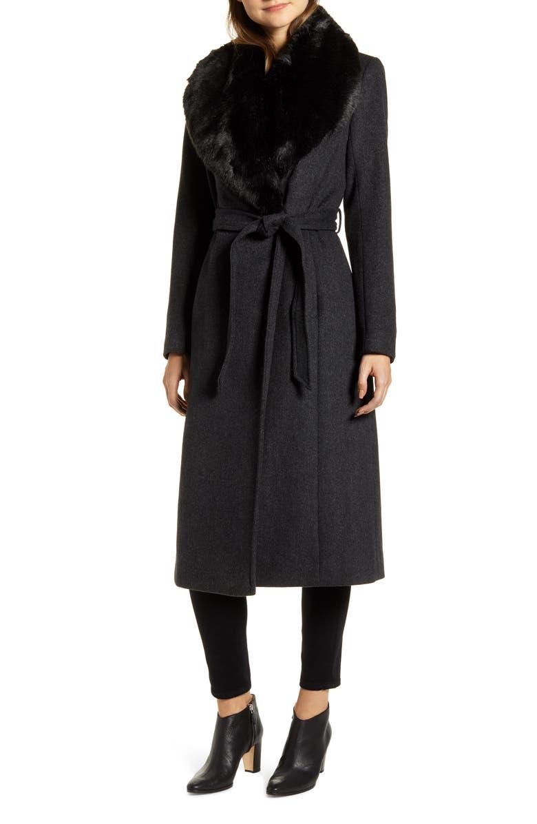 COLE HAAN Faux Fur Trim Wrap Coat, Main, color, 055