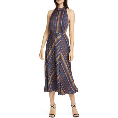 Ted Baker London Colour By Numbers Toronti Halter Neck Midi Dress, (fits like 4-6 US) - Blue