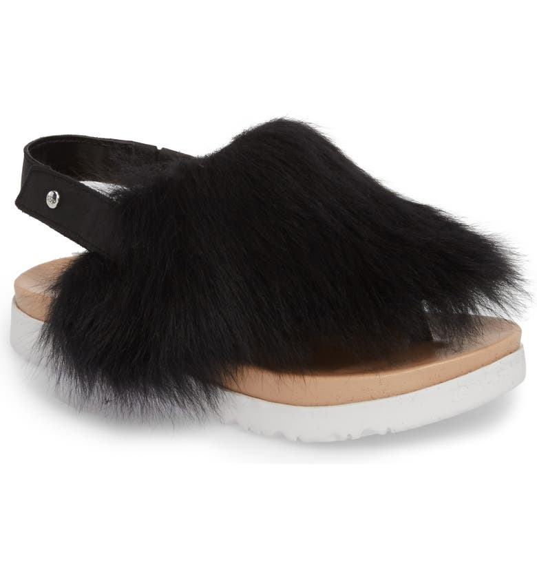 UGG<SUP>®</SUP> Holly Genuine Shearling Sandal, Main, color, 001