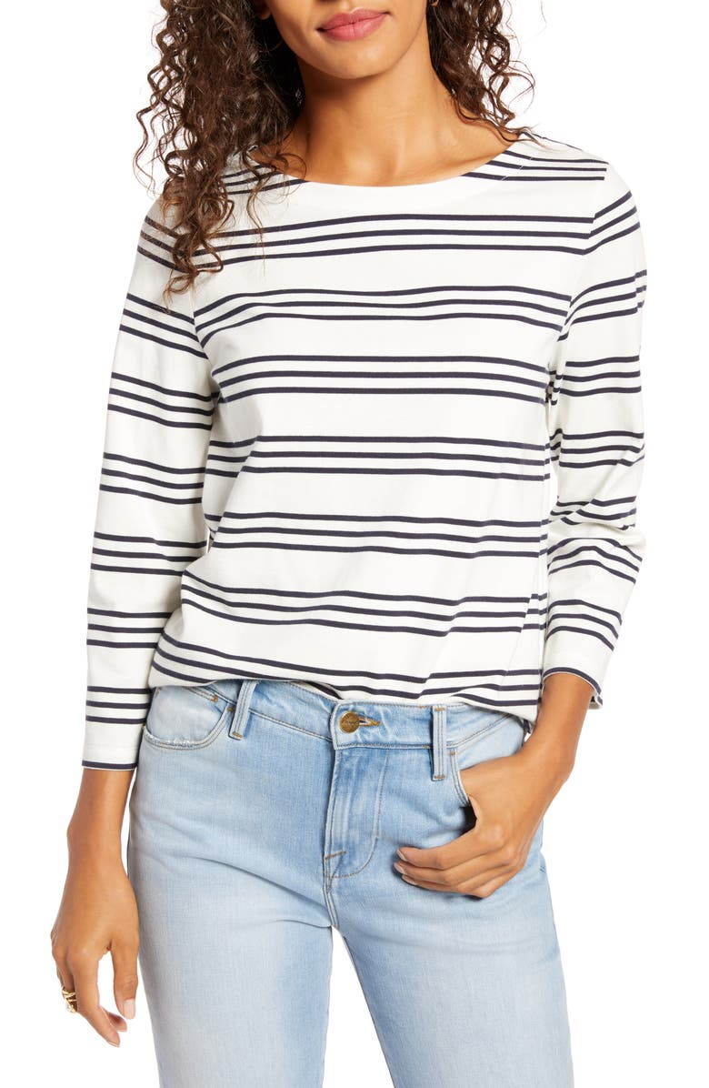 1901 Bateau Neck Top, Main, color, IVORY- NAVY AC STRIPE