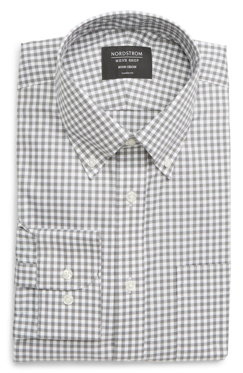 NORDSTROM MEN'S SHOP Classic Fit Non-Iron Gingham Dress Shirt, Main, color, GREY