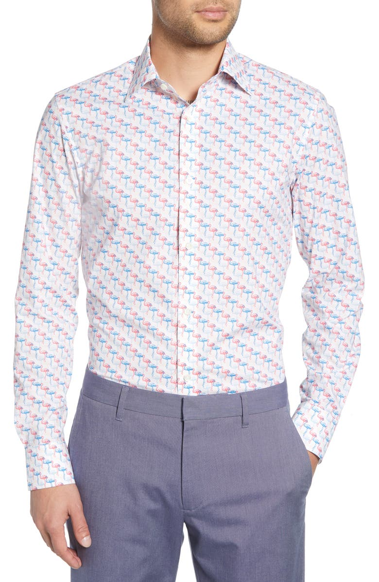 BONOBOS Trim Fit Stretch Flamingo Print Dress Shirt, Main, color, PINK