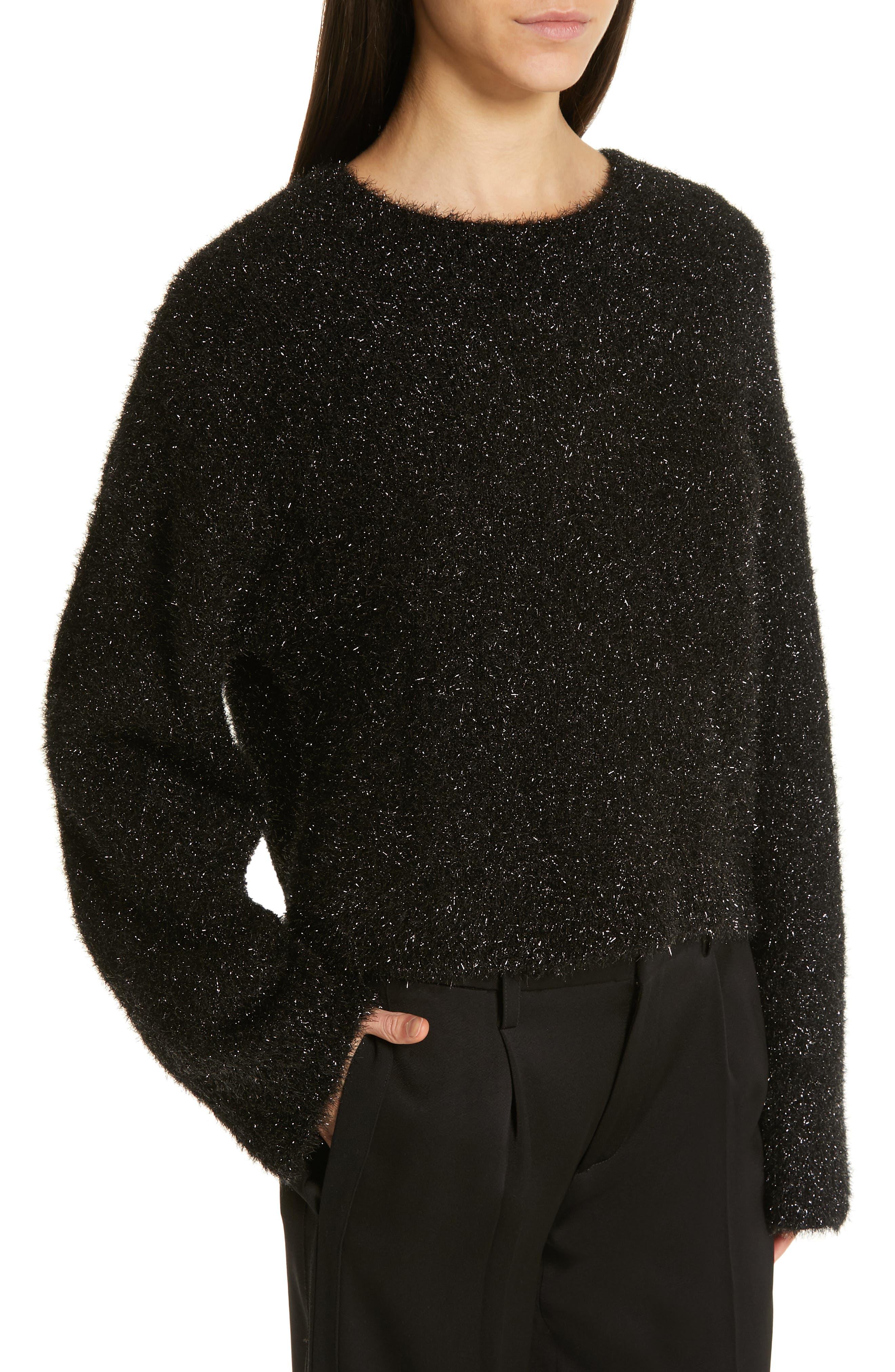 ,                             Boxy Metallic Knit Sweater,                             Alternate thumbnail 4, color,                             001