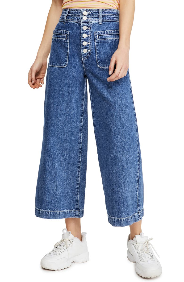 FREE PEOPLE Colette Wide Leg Jeans, Main, color, INDIGO BLUE