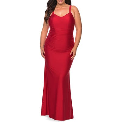 Plus Size La Femme Ruched Satin Jersey Gown, Red
