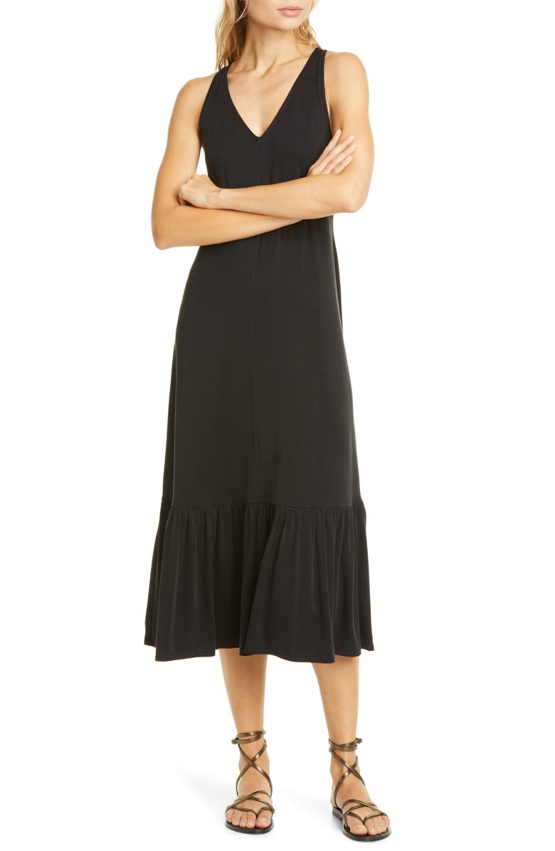 DOLAN Cass Cupro Racerback Midi Dress, Main, color, BLACK